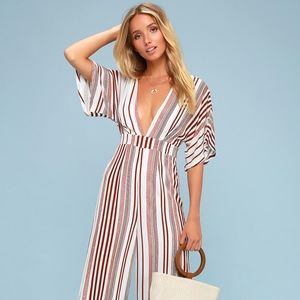Lulu's red and white striped jumpsuit